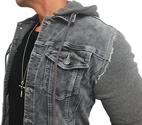 Kapuzen Jeansjacke Denim Jeans Jacke Kapuzenjacke Hoodie Herren Grau black biker motorrad Designer Blouson Sweat men leather flieger wende piloten jacket black slim fit NEU New - 2