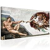 Topquadro XXL Wandbild, Leinwandbild 100x50cm, Die Erschaffung Adams - Michelangelo Buonarroti, Italienische Renaissance - Klassische Wanddeko Ideen, Bild auf Leinwand - Fertig Zum Aufhängen