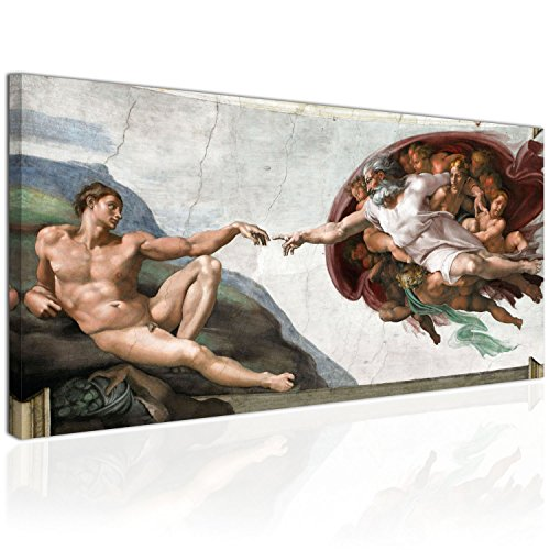 Topquadro XXL Wandbild, Leinwandbild 100x50cm, Die Erschaffung Adams - Michelangelo Buonarroti,...