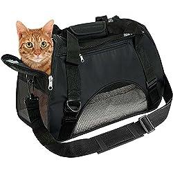 EVELTEK Bolsa de Transportín para gatos, Cómodo Bolso de Hombro Portador para el Transporte de mascotas en Avión, Coche o en el Tren (Negro)