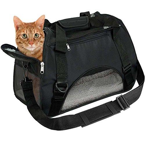 EVELTEK Hundetragetasche Katzentragetasche, Tragetasche Flugtasche Transporttasche Reisetasche für Hund oder Katze - Schwarz