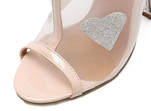 SHINIK Damen Peep Toe Pumps Charming Transparente Film High-Heel Sandalen Schwarz Aprikose apricot