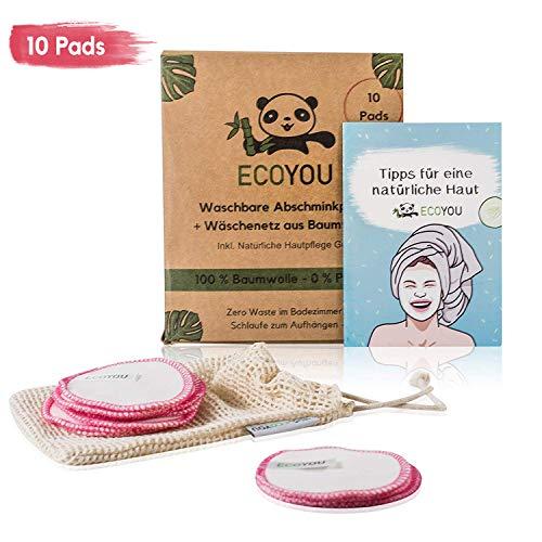 EcoYou Abschminkpads Waschbar 10 St. PINK ♻ Zero Waste Wattepads Baumwolle + WÄSCHENETZ ♻ Nachhaltige Make Up Entferner Pads + Hautpflege GUIDE ♻ Wiederverwendbare Abschminktücher