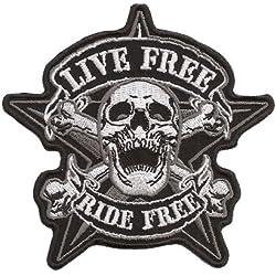 Live Free Ride Free Pirate Skullhead Calavera Biker Moto-Parche