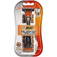BIC Hybrid Advance 3 Disposable/System Shaver, Men, 6-Count (Pack of 3) by BIC