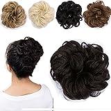 Haargummi Haarteil Dutt Synthetik Haare für Haarknoten Gummiband Hochsteckfrisuren Haarband Mittelbraun