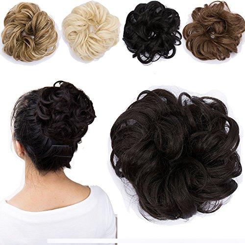 Haarteil Dutt Haargummi Synthetik Haare Extensions Gewellt günstig Haarverlängerung für Haarknoten Gummiband Hochsteckfrisuren Haarband Mittelbraun