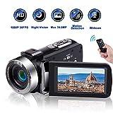 Videocamara Videocámara Full HD 1080P 30 FPS Cámara de Video con Visión Nocturna por Infrarrojos Videocamaras de 3.0 Pulgadas IPS Pantalla con Zoom Digital 16X con Control Remoto