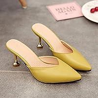 fankou Baotou Mitad Zapatillas Verano Femeninos, Elegantes y de Alto-Cool y Multa a los Zapatos de Punta Chica,34, Amarillo