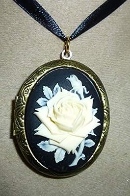 pendentif medaillon porte photo la rose ivoire