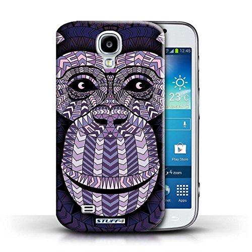 Coque en plastique pour Samsung Galaxy S4/SIV Collection Motif Animaux Aztec - Tigre-Mono Singe-Pourpre