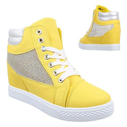 Scarpe Ital-design Da Donna, 51155-y, Scarpe Casual Zeppa Tacco Alto Sneaker Alto In Alto Tacco A Zeppa Giallo