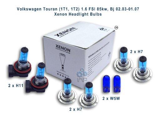 ampoules de phare de voiture d'effet de xénon H11 H7 H7 W5W, 8-pack