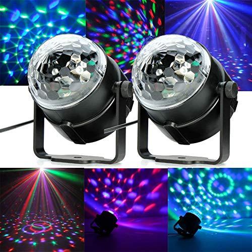 Disco Lichter, Bühnenlichter DJ Party Lichter, 7 Lichter und 3 Modi Mini Magic Crystal Ball Strobe Lichter aktivieren Fernbedienung für Kindergeburtstag, Familientreffen, Weihnachtsfeier (2 Lichter) (Flache Stabilität Ball)