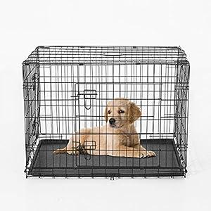 Cage caisse transport pour chien pliable 2 portes fil d'acier avec plateau poignée 76L x 53l x 57Hcm noir neuf 22