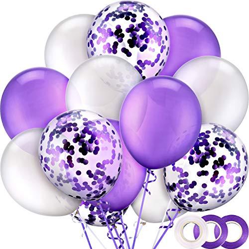 50 Stück 12 Zoll Latex Luftballons Konfetti Ballons mit 3 Rollen Band für Hochzeit Geburtstag Party Vorräte (Weiß, Lila) (Weiß Lila Hochzeit Und)