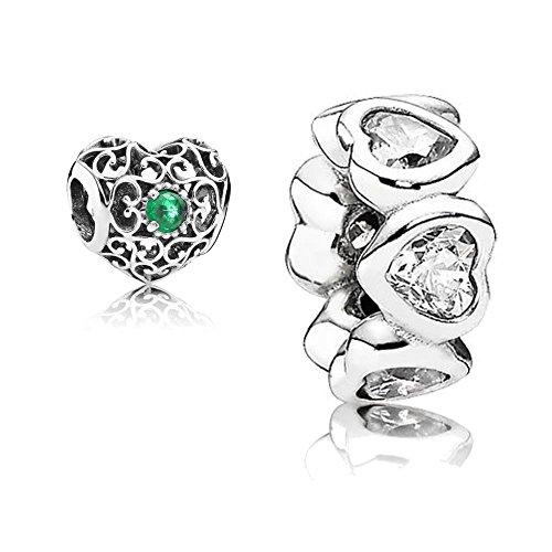 Original Pandora Geschenkset - 1 Silber Zwischenelement Funkelnde Herzen 791252CZ und 1 Silber Charm Mai-Herz 791784NRG