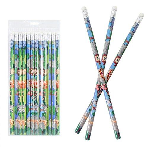 12 Bleistifte mit Radiergummi im Set - mit bunten Tier - Motiven - Safari - ideal für die Schule...