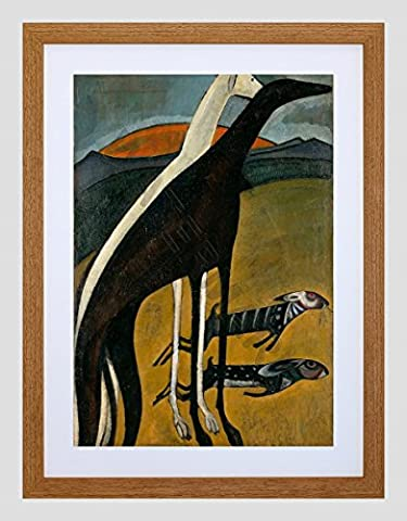 DE SOUZA-CARDOSO GREYHOUNDS SMALL FRAMED ART PRINT