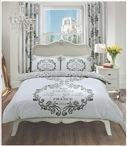 Goldstar® Script Paris Silver King Size Duvet Cover Modern Bedding Set