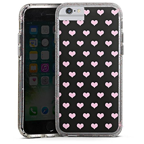 Apple iPhone X Bumper Hülle Bumper Case Glitzer Hülle Hearts Herzen Pink Bumper Case Glitzer rose gold