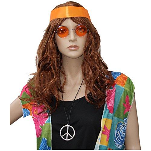 70er Jahre Set Hippie Perücke + Stirnband + Brille + Medaillon