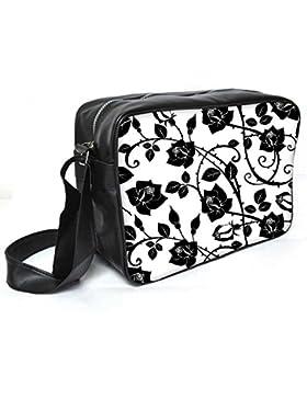 Snoogg schwarz Rosen Blätter Leder Unisex Messenger Bag für College Schule täglichen Gebrauch Tasche Material PU