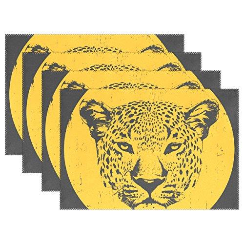 ng Leopard-Druck-Platzdeckchen, hitzebeständiges Platzdeckchen Stain Resistant Anti-Blockier-System Waschbar Polyester Setzer Nicht Beleg Easy Clean Platzdeckchen, 12