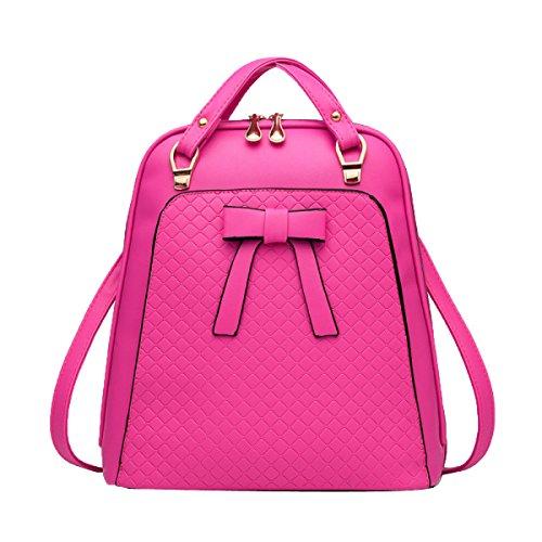 Mädchen Schultertasche Umhängetasche Casual Daypack Mit Bowknot Leder Rucksack Multicolor,Pink-M