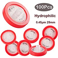 100 filtros de jeringa PTFE de Membrana Solutions de 0,45um, 25 mm, prefiltración de laboratorio, hidrófilo