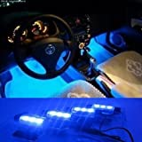 Gearmax® 12V Auto-Gebühren 4*3 LED Auto Innenraum Atmosphäre Beleuchtung Innenbeleuchtung Innenlampen Dekoration-Lampe (Blau)