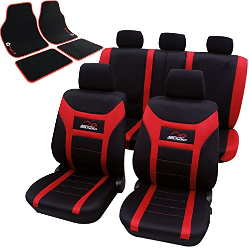 WOLTU AS7259+AM7167 Universal Auto Sitzbezüge + Fußmatten Autositzbezug Set Matten, Schwarz/Rot Test