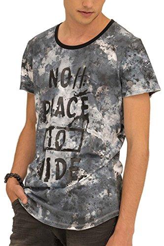 trueprodigy Casual Herren Marken T-Shirt mit Aufdruck, Oberteil cool und stylisch mit Rundhals Ausschnitt (Kurzarm & Slim Fit), Shirt für Männer Bedruckt Farbe: Blau 1073133-4010-L
