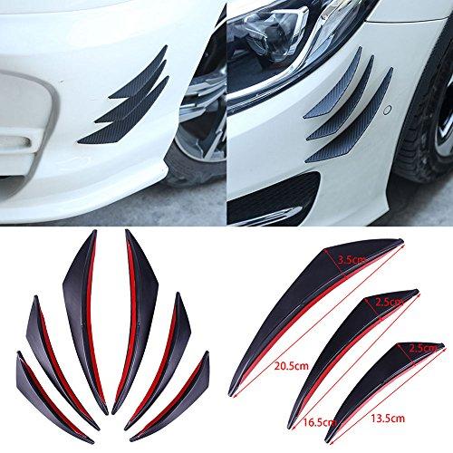 ZHUOTOP 6 piezas de protector fibra de carbono para parachoques delantero, cuerpo,...