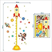 Shang1 Wall Sticker Outer Space Planet Pilot Rocket Home Decal Height Measure Wall Sticker For Kids Room Baby Nursery Growth Chart Gifts