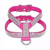 ZAMAC Hundegeschirr, verstellbar, Brustgurt, mit Diamanten, einfach anzubringen, strapazierfähiges PU und Strasssteine, Größe S/M / L