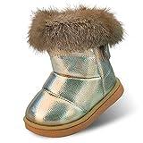 zhenghewyh Kinder Stiefeletten Mädchen Winter Stiefel Warmer Gefütterte Schneestiefel Baby Boots (Label 28/Gold)