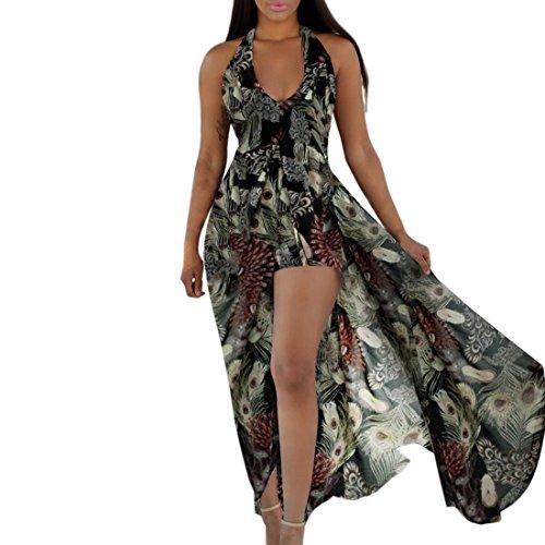 Shinekoo Femmes Cou Suspendu Rétro Sans dos V Cou Divisé Robe en Mousseline de soie Floral Couleur 7
