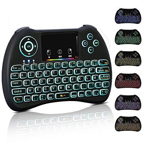 Mini Tastatur Hintergrundbeleuchtung kabellos, 2.4GHz AZERTY Französisch Tastatur mit Touchpad für Smart TV, Mini PC, TV Box, Computer, Projektor - Hintergrundbeleuchtung Mit Wireless Keyboard Mini