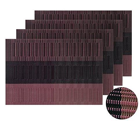 Deconovo Lot de 4 Sets de Table deco Bande Table Jardin Antidérapants Imperméable 30x45cm Violet Rouge