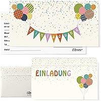Postkartenschmiede 12 Einladungskarten Kindergeburtstag mit Luftballons – Einladungen Geburtstag Jungen Mädchen mit Umschlägen - Geburtstagseinladungen Kinder