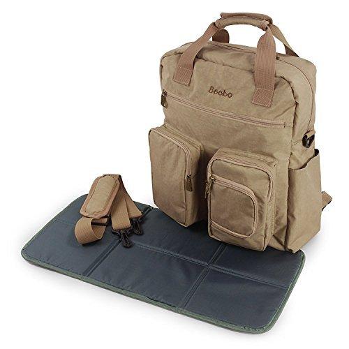 Becko 3-in-1 mutifunktionale Windeltasche/Windel- Rucksacktasche/Wickelunterlagen/verstellbare Schultertasche/tolle Handtasche mit Wickelmatte und Reißeverschlusstasche (khaki)