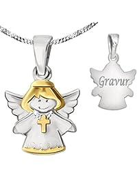 CLEVER SCHMUCK-GRAVUR-SET Silberner Anhänger Kinderengel bicolor mit Kreuz glänzend teilvergoldet mit Kette und persönlicher Gravur STERLING SILBER 925 und Etui