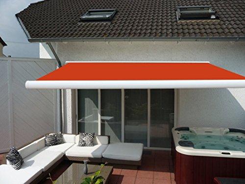 Prime Tech Elektrische Kassettenmarkise/Gelenkarm-Markise 450 x 300 cm/Gehäuse Weiss/Tuch orange - rot / #580