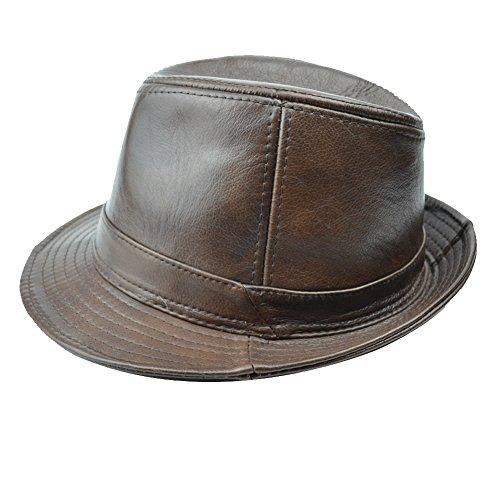 Yosang Herren Rindsleder Fedora Porkpie Hut Panama Cap Jazz Hut(Medium, braun)