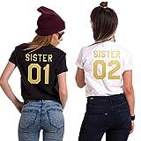 Minetom Best Friends Sister Damen T-Shirt Aufdruck Mädchen Sommer Weiß Schwarz Oberteile Tops Mode Casual Bluse A Weiß - Gold 02 DE 40