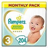 Pampers Premium Protection Pañales para Bebés, Talla 3 (5-9 kg) - 204 pañales