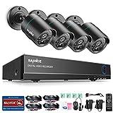SANNCE Kit Sistema de vigilancia cámaras de seguridad (H.264 Onvif CCTV DVR TVI 8CH P2P y 4 cámaras 720P)-sin HDD