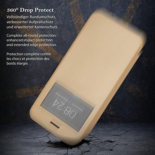 iPhone 7/8 Hülle Schwarz mit Sicht-Fenster [OneFlow Focus Cover] Ultra-Slim Schutzhülle Dünn Handyhülle für iPhone 7/8 Case Flip Handy-Tasche Klapp-Hülle RISING SUN