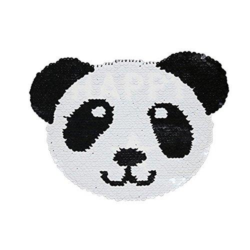 Reversible Lentejuelas Ropa Parche Panda Patrón Bordado